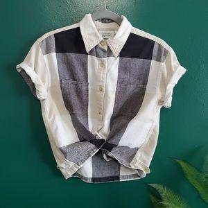 Christopher & Banks Crop Plaid Button Down Shirt S